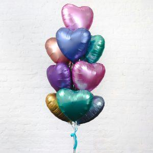 """Сердце фольгированное 18"""" с гелием. Цвет Сатин."""