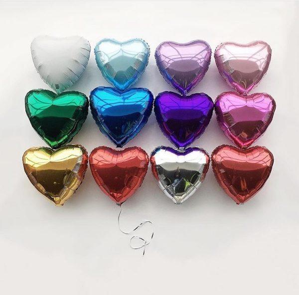 """Сердце фольгированное 18"""" с гелием. Цвет Металлик."""